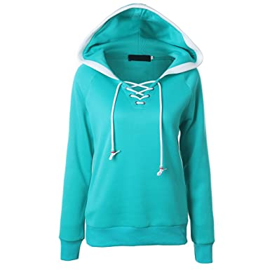 Annystore Womens Solid Color Lace Up V Neck Pullover Hoodies Hooded  Sweatshirts Indigo S d29c6c8ad9