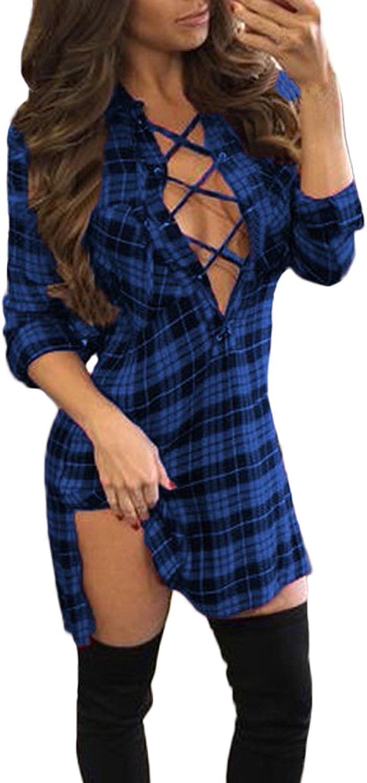 Auxo Women Lace Up Shirt Bandage Dress Plaid Checkered Deep V Neck Long Sleeve Bodycon Dress