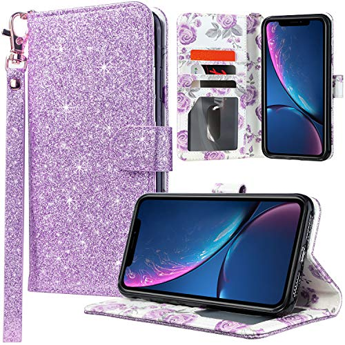 UARMOR Wallet Case for iPhone XR, Luxury PU Leather Glitter Bling Sparkle Flip Folio Case Shock Absorbing Detachable Protective Cover with Credit Card Holder Wrist Strap and Kickstand, Purple