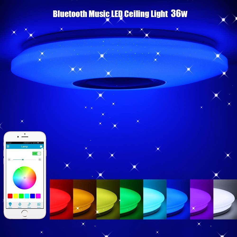 Luz de Techo LED Regulable de 36w con Control Remoto APP, ShangSky Smart Music Bluetooth - Lámpara de Techo para Sala de Estar y Dormitorio