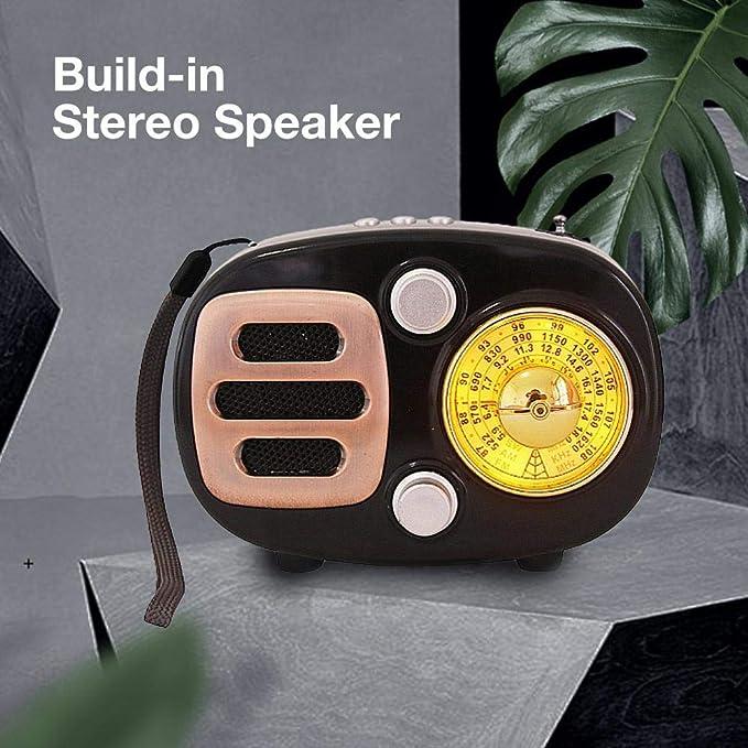 Le Dortoir La Cuisine Radio Portable Vintage Haut-Parleur Bluetooth R/étro Supporte Les Bandes AM//FM//SW Chargement USB FM Radio pour Le Salon La Salle De Bain Etc