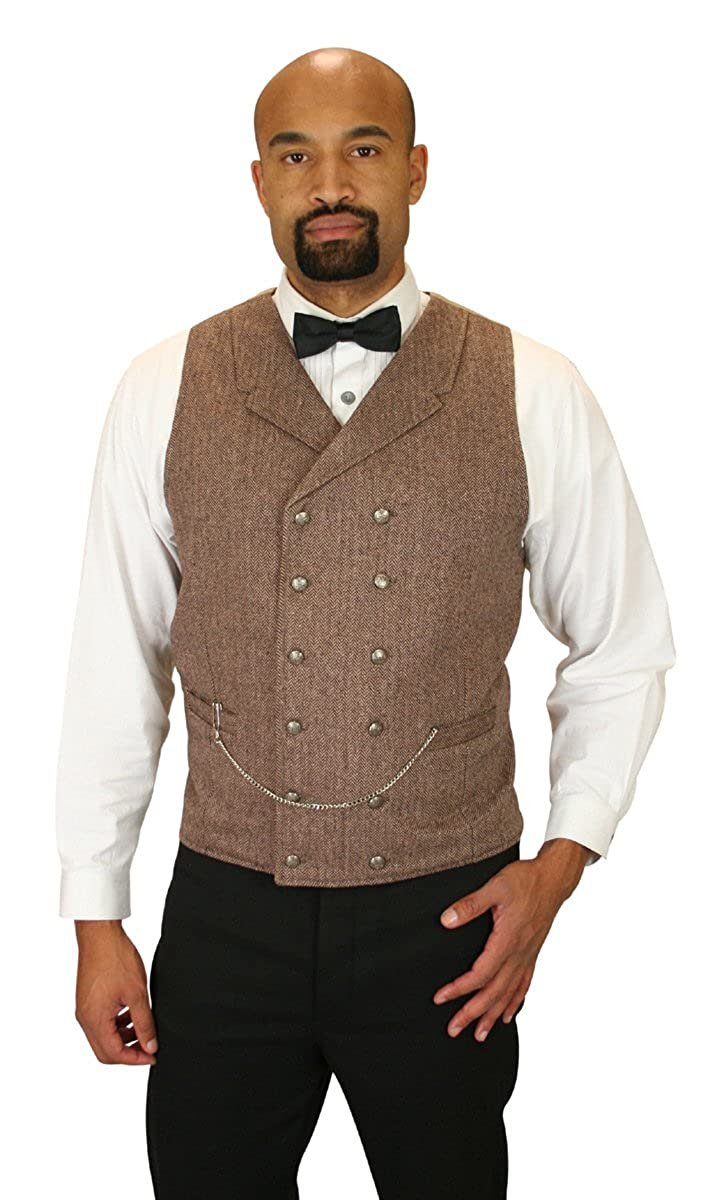 Historical Emporium Men's Double Breasted Herringbone Tweed Vest 006829