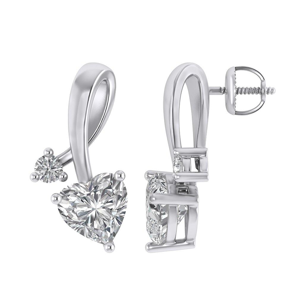 925 Sterling Silver Cubic Zirconia Love Heart Bridal Pendant Necklace Screw Back Stud Earrings Set by Pretty Jewels (Image #4)