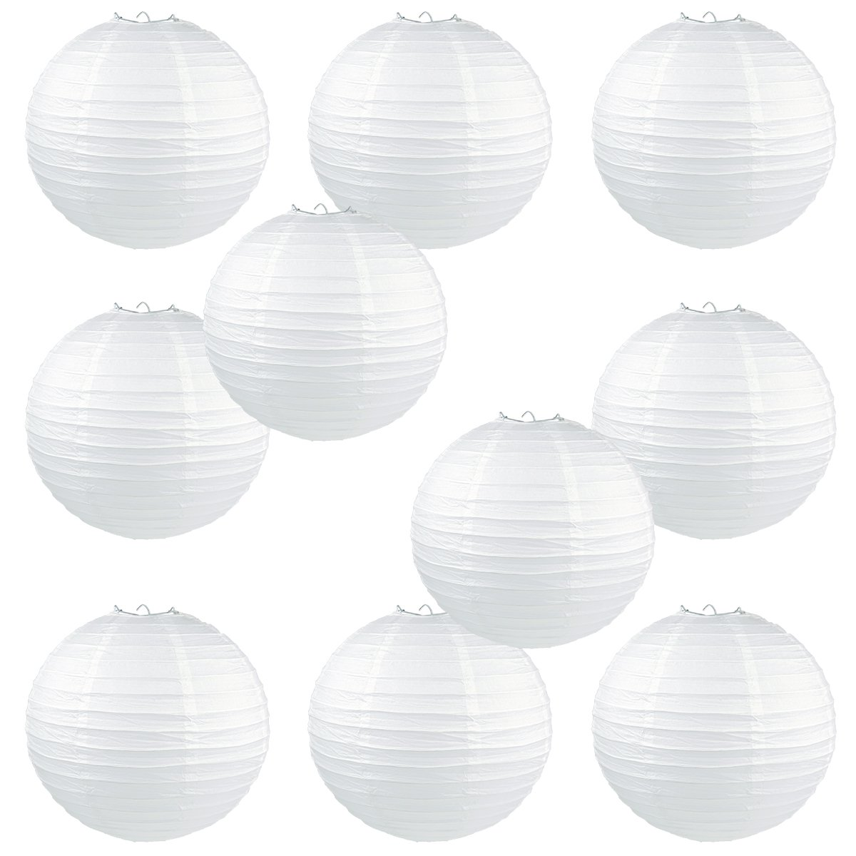 WYZworks Round Paper Lanterns 10 Pack (White, 14'') - with 8'', 10'', 12'', 14'', 16'' Option