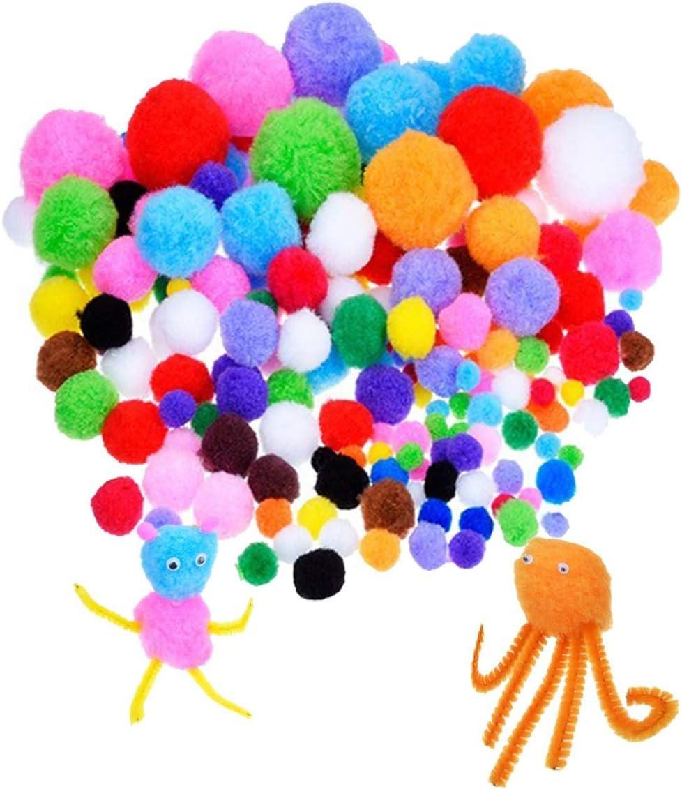 Shengruili 300PCS Pfeifenreiniger Pluesch Bunte,Pompons und Selbstklebend Wackelaugen,pfeifenreiniger Set,pfeifenreiniger und Pompons,Bastelzubeh/ör Kinder,Rote Pom Poms,Weihnachten handgemacht