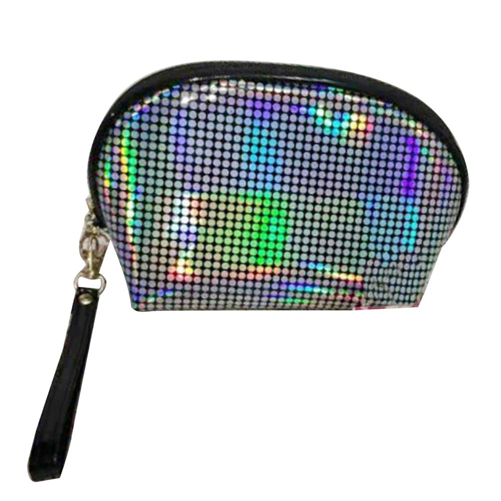 Anniston Cosmetic Bag, Women Holographic Dots Print Shell Shape Zipper Cosmetic Bag Makeup Organizer Travel Makeup Bag Toiletry Bags Cosmetic Case Makeup Organizer White