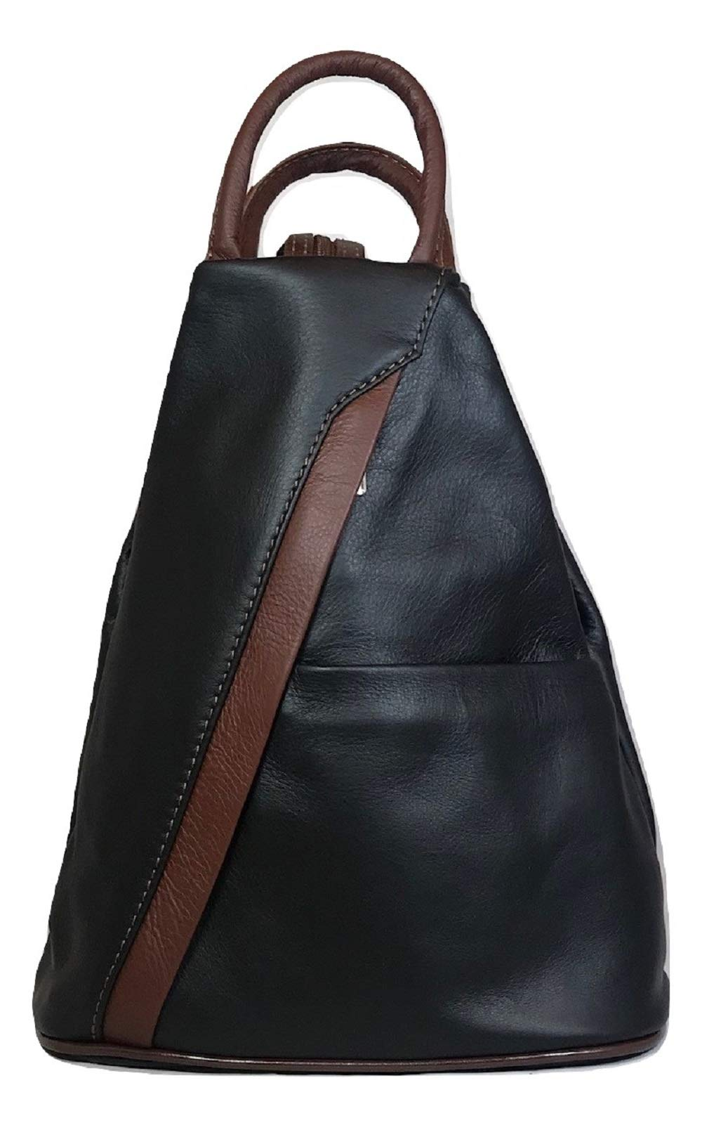 LaGaksta Submedium Backpack Convertible Teardrop Italian Leather Bag Purse Small Black-Brown