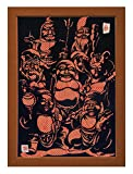 """Cutout picture Japanese art collage KIRIE """"Seven Lucky God"""" Seven Deities(Gods) of Good Fortune Made by Washi(Japanese paper) Yuzen Ichimatsu Red&Gold, 13"""" x 18"""""""