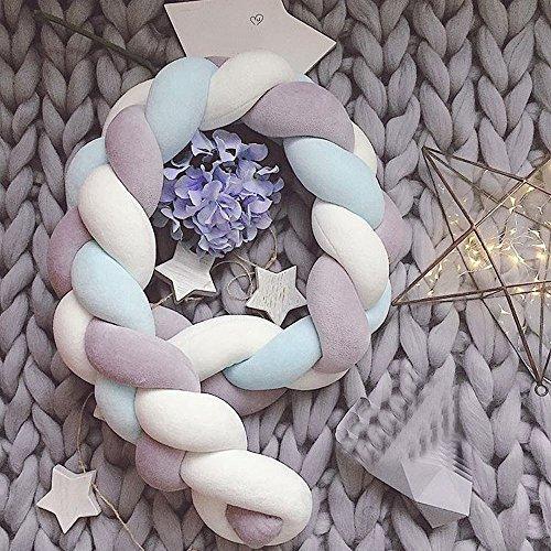 OMG_Shop 300cm Baby Crib Bumper Knotted Braided Plush Nursery Cradle Decor Newborn Gift Pillow Cushion Junior Bed Sleep Bumper