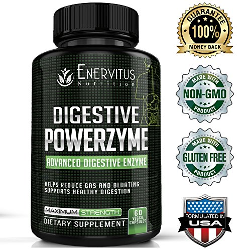 Digestive PowerZyme - Advanced Digestive Enzyme Supplement - 18 Potent Enzymes including Bromelain, Amylase, and Lactase to Relieve Indigestion, Gas, Bloating, even Dairy and Gluten Issues! Intestinal Repair Complex