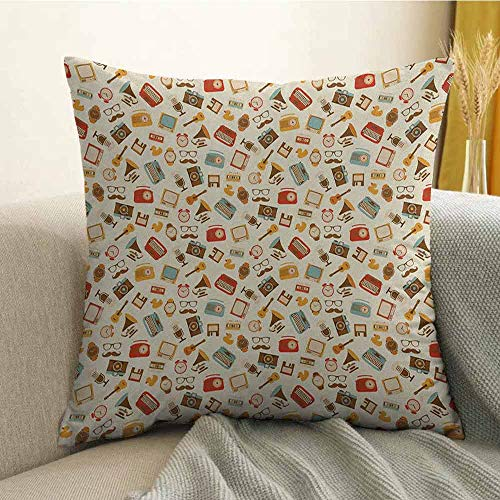 FreeKite Vintage Microfiber Retro Pattern Old Fashioned Icons Alarm Clock Typewriter Gramophone Radio Cassette Sofa Cushion Cover Bedroom car Decoration W24 x L24 Inch Multicolor