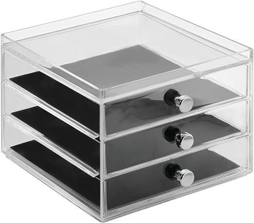 InterDesign Clarity Jewelry Joyero organizador | Caja joyero con 3 ...
