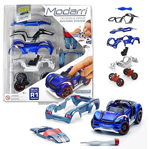 Modarri R1 Roadster Blue Toy Car | STEM Toys Educational Toy | Make a Model car - Design Your own Working Race Cars | Fun Building and Construction Toys for Kids | Girls and Boys Gifts Age 5-10