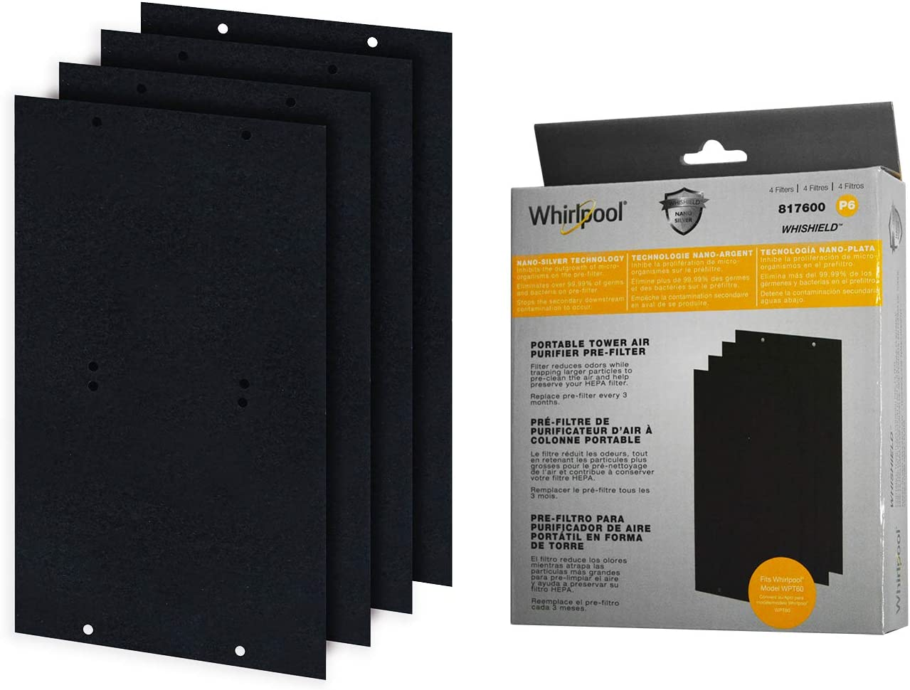Whirlpool 817600 Genuino carbón pre-Filtro – Whishield Antimicrobial Activado – Repuesto Fit purificador de Aire portátil Torre WPT60, Mediano – 4 Unidades: Amazon.es: Hogar