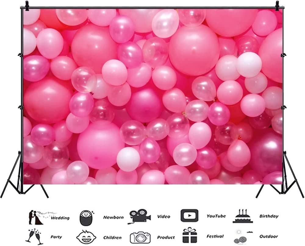 7x10 FT Vinyl Photography Backdrop,Vivid Colored Frameworks with Many Balloons and Cupcake Cherry and Hearts Print Background for Child Baby Shower Photo Studio Prop Photobooth Photoshoot