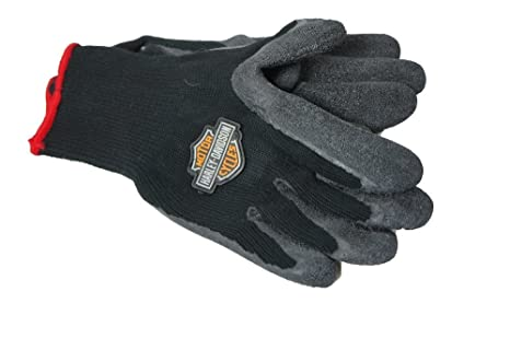 Harley Davidson LARGE Size Gloves Hand Protection Rubber Dipped Knit Motorcycles