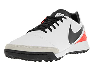 Nike Men's Tiempo Mystic V TF White/Black/Total Orange Turf Soccer Shoe 10.5