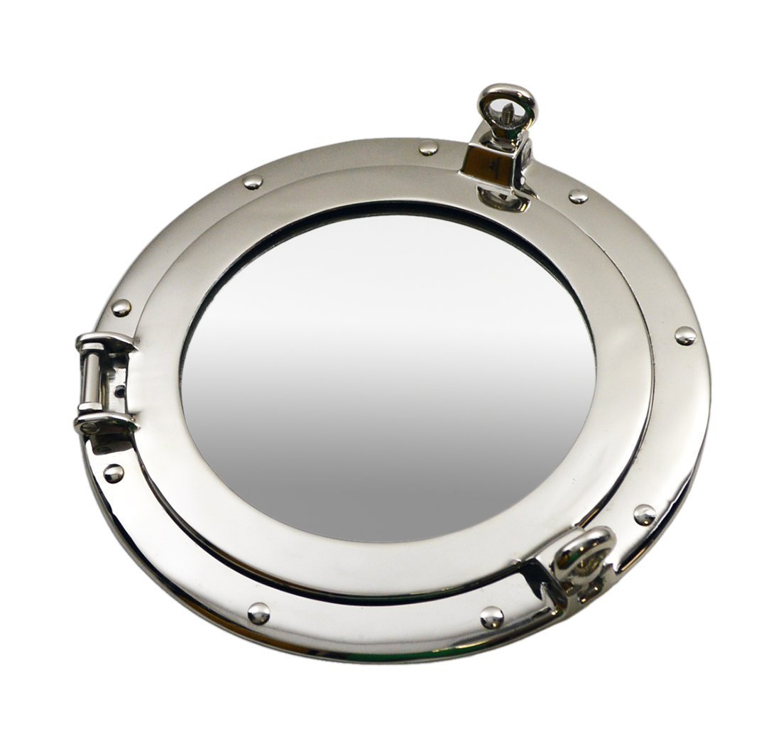 Nagina International Metal Crafted Nickel Plated Aluminum Porthole Bathroom Decor Mirror (24 Inches)
