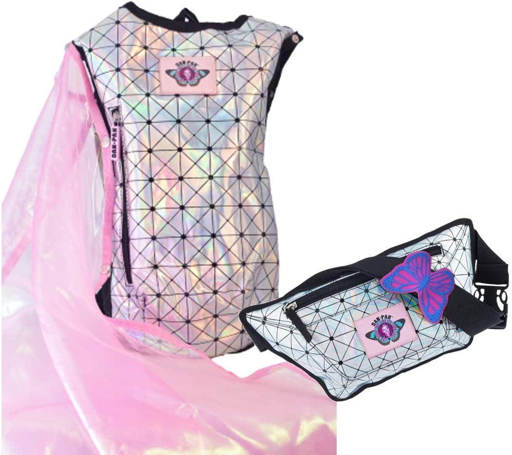 Dan-Pak Holographic Disco Hydration Pack and Fanny Pack- New and Improved with Added Fairy Wings!