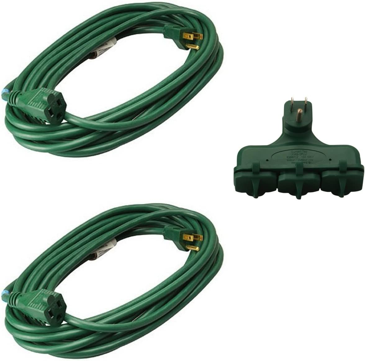 2-Pack Master Electrician 20-Foot 16/3 Green Vinyl Landscape Outdoor Extension Cord + FREE One 3-Outlet Adapter