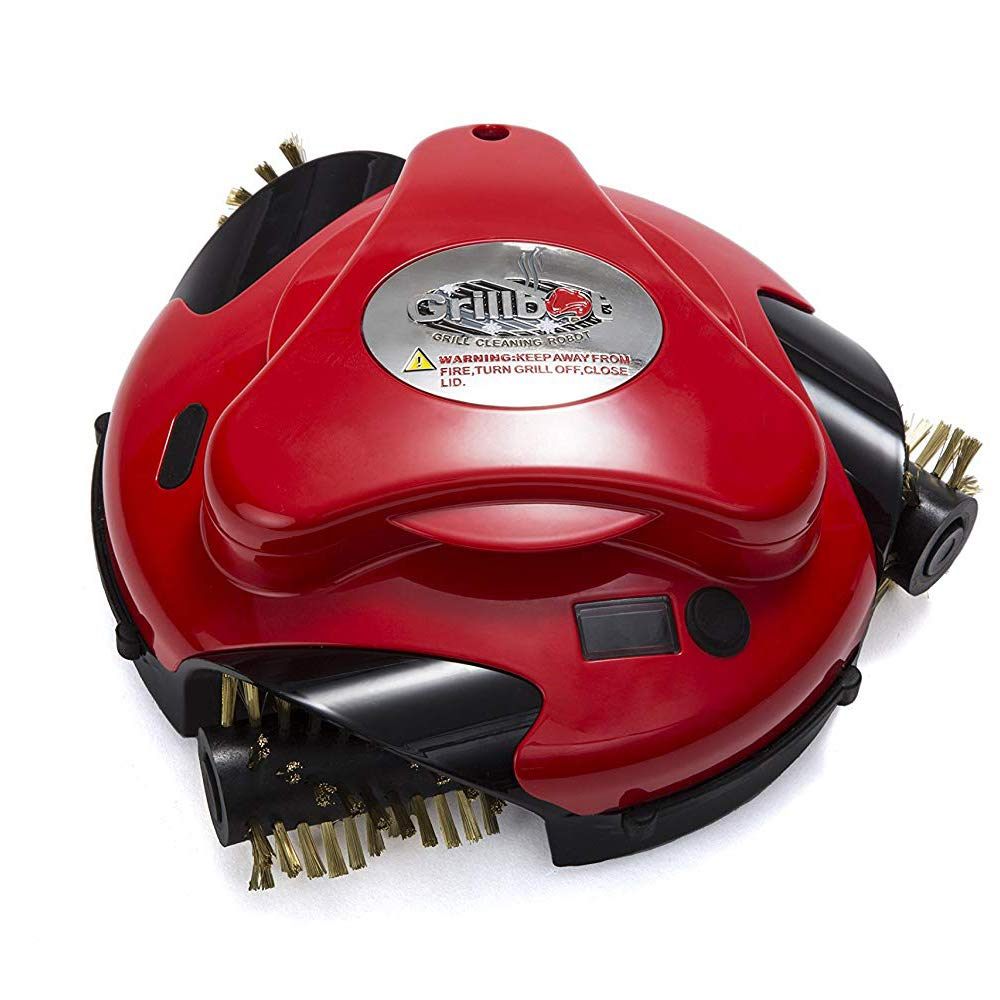 Grillbot Automatic Grill Cleaning Robot with Brass Brushes - BBQ Grill Cleaner - Grill Brush - Grill Scraper - BBQ Accessories - Red by Grillbot