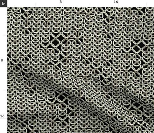 Spoonflower Fashion Fabric - Style Chain Mail Medieval Armor Vintage Large Scale Print on Fabric by The Yard - Organic Cotton Knit for Baby Blankets Clothing Apparel T-Shirts