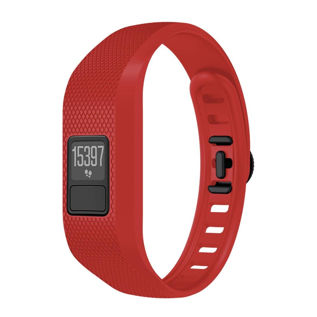 KingWo Soft Silicone Replacement Strap Accessory Wristbands for Garmin Vivofit 3 (Red)