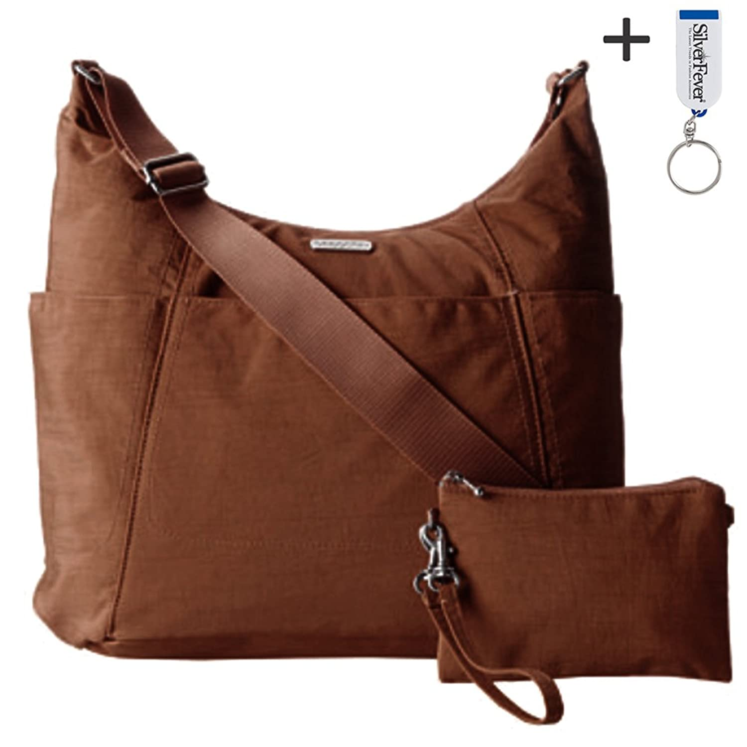 Baggallini Slick Hobo Tote Handbag Functional Pockets Crossbody (Mocha)
