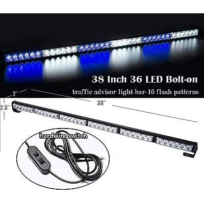 "SMALLFATW Blue White Truck Strobe Light Bar 36"" Traffic Advisor 16 Fflash Modes Emergency Light: Automotive"