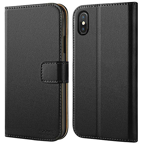 HOOMIL Case Compatible with iPhone Xs and iPhone X, Premium Leather Flip Wallet Phone Case for Apple iPhone Xs/iPhone X Cover (Black)