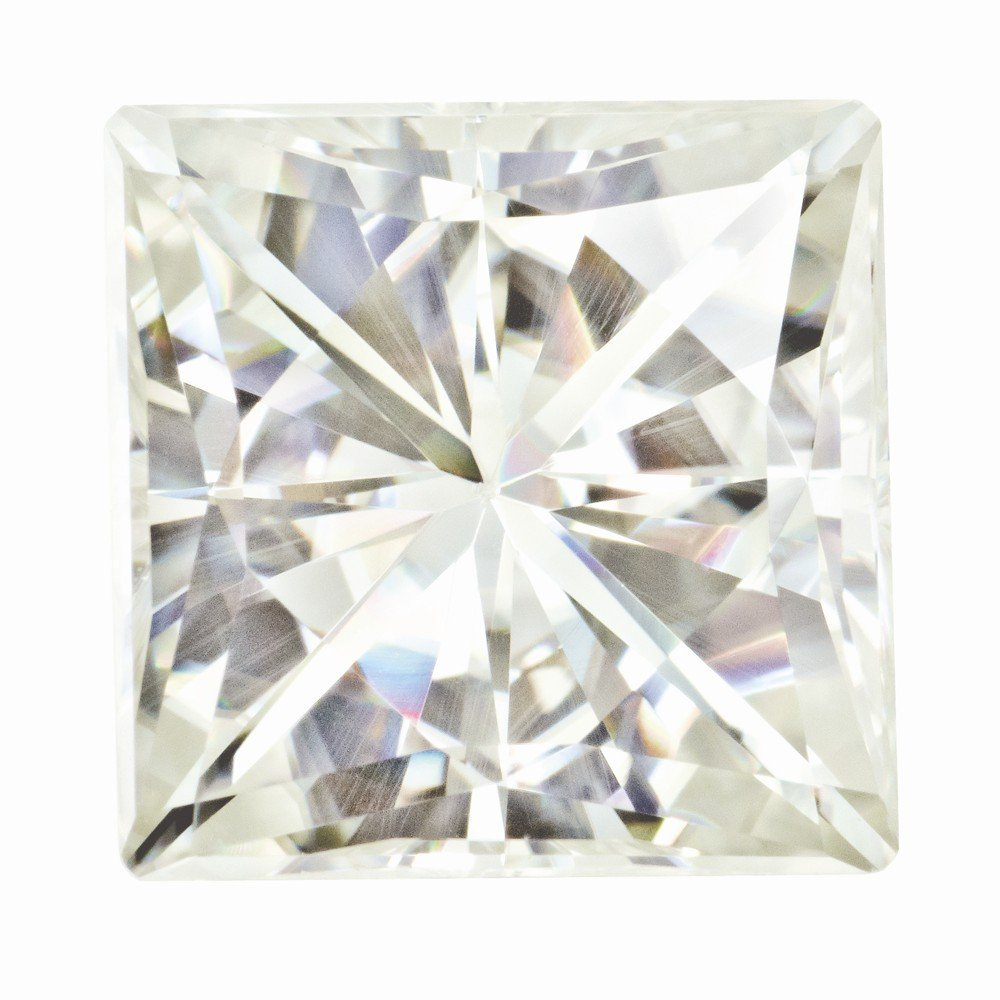 Moissanite, White, 9mm Square by Brilliant Embers, Best Quality Free Gift Box