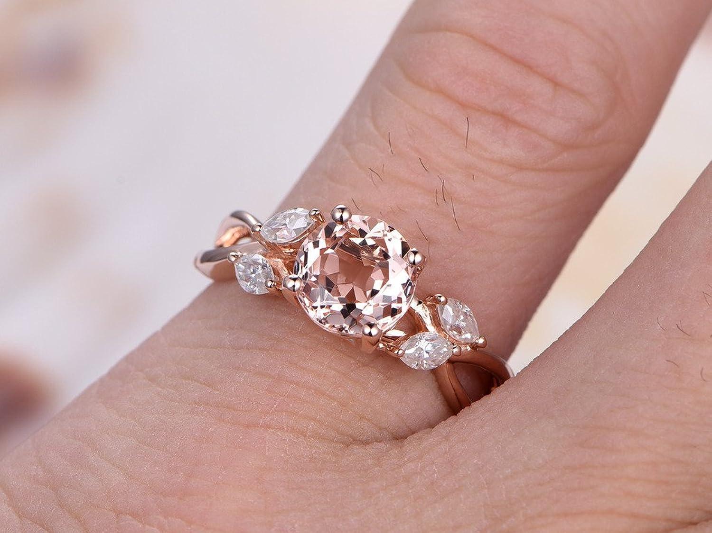 Amazon.com: 3pcs 7mm Round Pink Morganite Marquise Moissanite Bridal ...