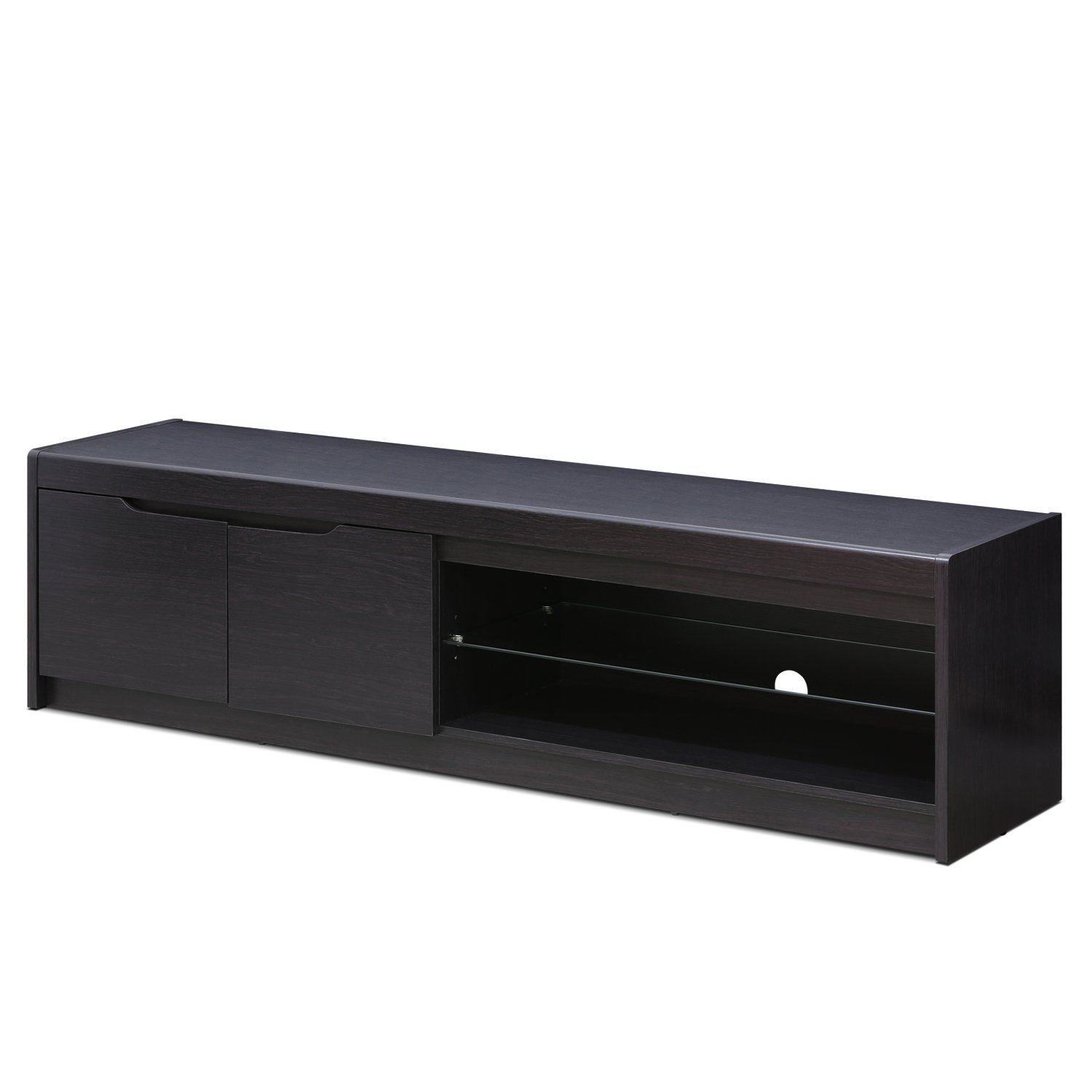 FURINNO FVR1707WG Indo Entertainment Center for TV up to 65 Inch with 2 Doors and Glass Shelf, Wenge