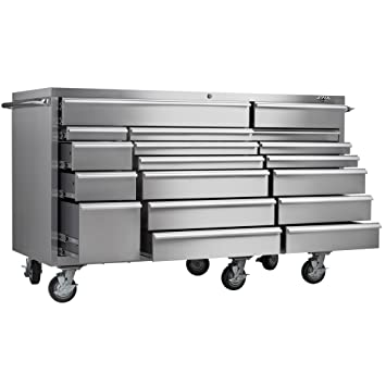 Viper Tool Storage VP7218SS PRO 72 Inch 18 Drawer 304 Stainless Steel  Rolling Cabinet