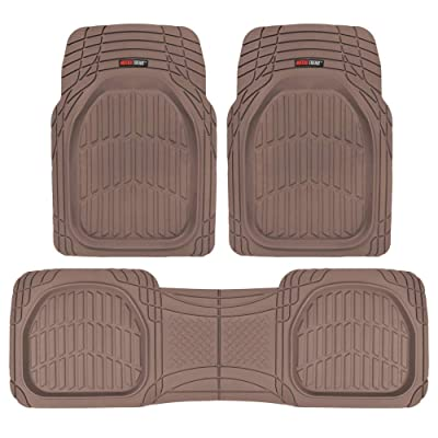 Motor Trend OF-923-BW BROWN FlexTough Contour Liners-Deep Dish Heavy Duty Rubber Floor Mats for Car SUV Truck & Van-All Weather Protection: Automotive