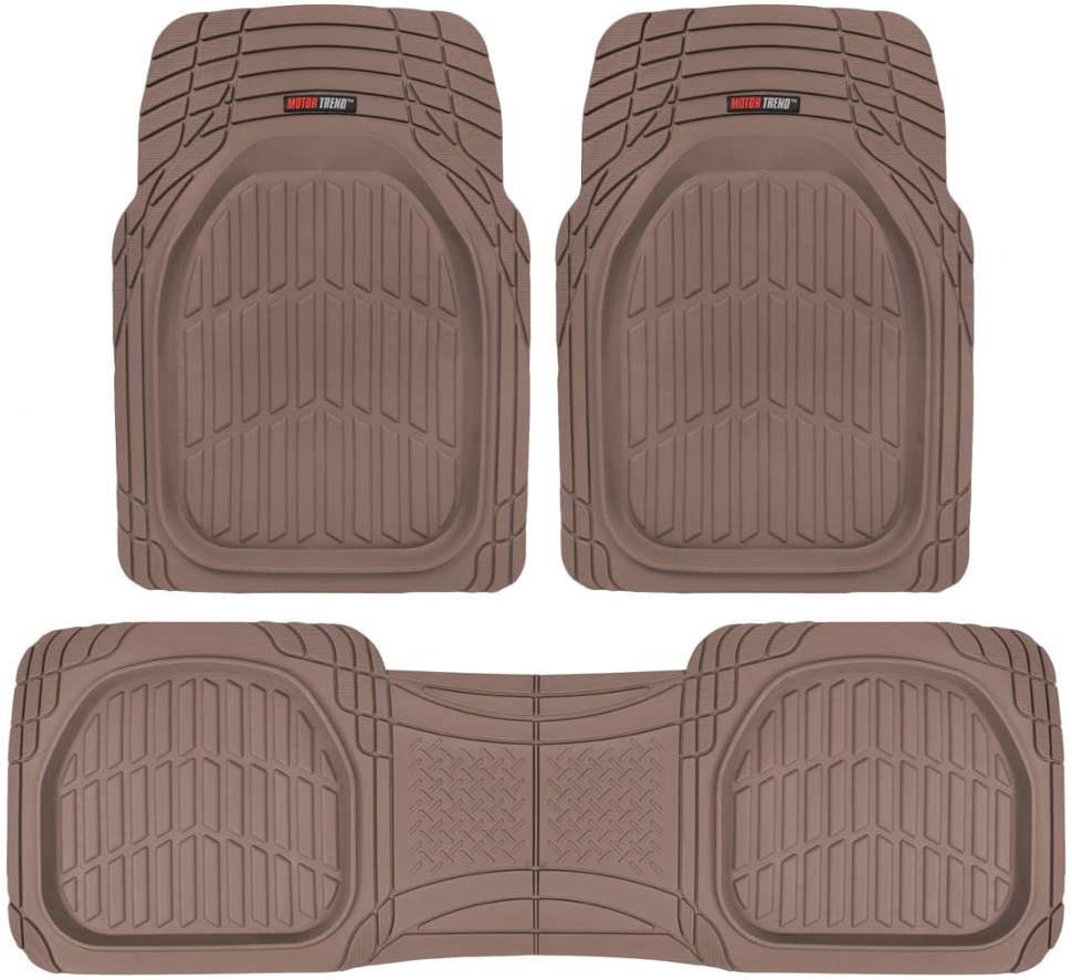 Motor Trend OF-923-BW BROWN FlexTough Contour Liners-Deep Dish Heavy Duty Rubber Floor Mats for Car SUV Truck & Van-All Weather Protection
