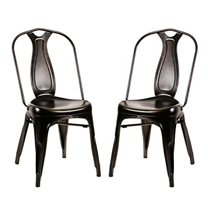 Admirable Merax Metal Chairs Dining Chairs Tolix Style Industrial Metal Indoor Outdoor Stackable Cafe Side Chair Set Of 2 Antique Bronze Black Theyellowbook Wood Chair Design Ideas Theyellowbookinfo