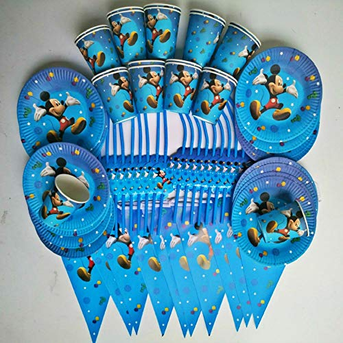 Linker Wish Biodegradeable Plates 20 People kids Birthday Party Mickey Mouse Cup Plate Straw Banner ()