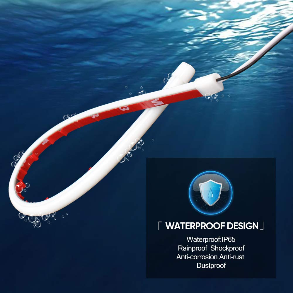 MAXGTRS 2Pcs 17-inch Ultrafine LED Strip Tube Flexible Waterproof Daytime Running Light White Suitable Switchback Headlight LED Strip,Decorative Lamp,Running Light,Neon Light,Turn Signal Light