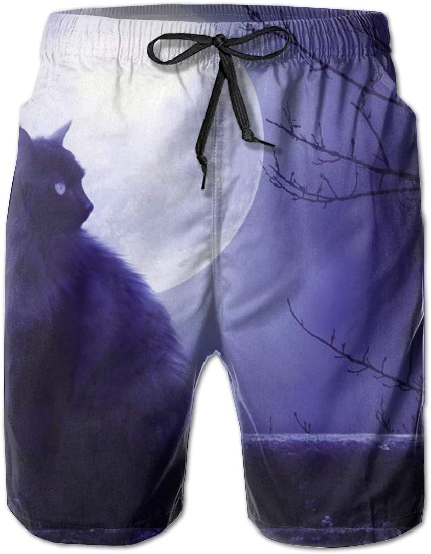 HZamora/_H Mens Moon Cat Summer Breathable Quick-Drying Swim Trunks Beach Shorts Cargo Shorts