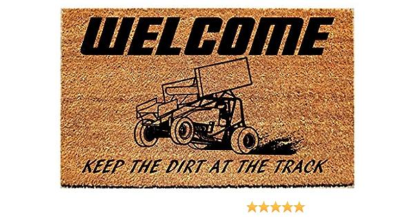 Welcome Door Mat Sprint Cars Welcome Mat Front Door Decor Race Car Front Doormat Funny Doormat Dirt Track Racing Fans
