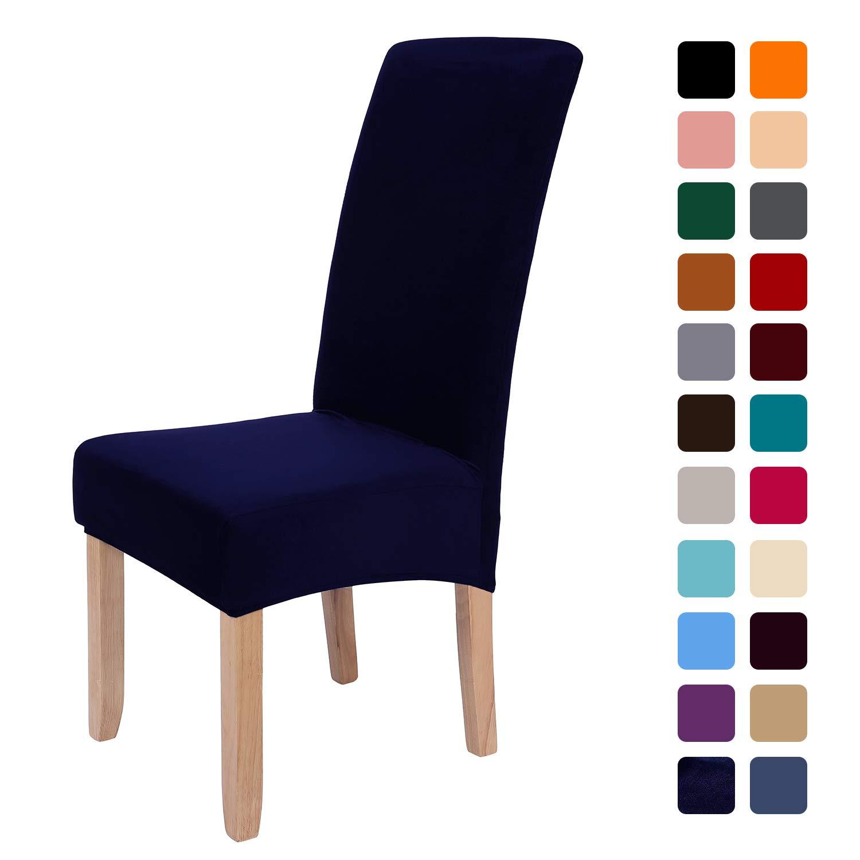 smiry Stretch Velvet Dining Chair Covers, Removable Washable Large Soft Dining Chair Slipcovers for Kitchen Home Restaurant (Set of 6, Navy)