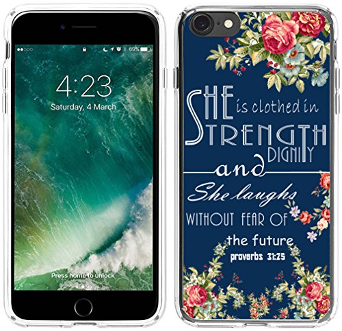 Iphone 6 Case Christian,Apple Iphone 6S Case Bible Themes She Is Clothed In Strength And Dignity And She Laughs Without Fear Of the Future Christian Quotes Bible Verses
