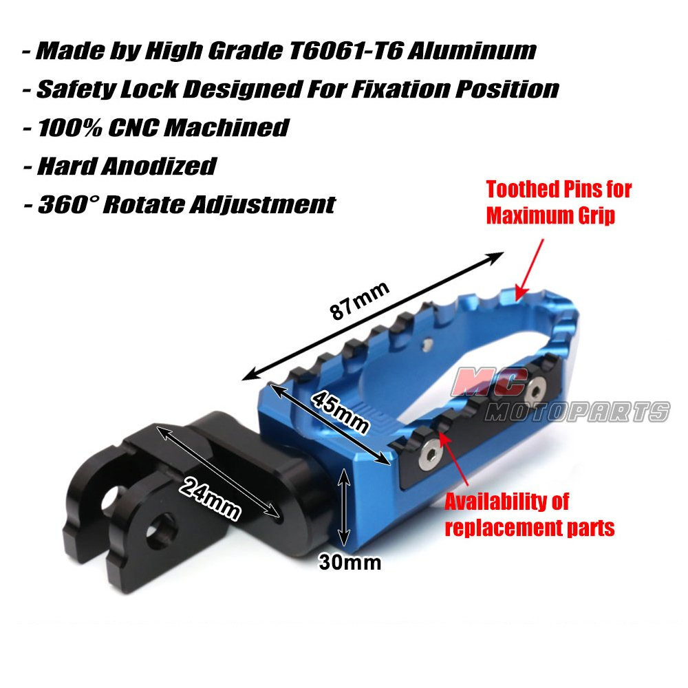 Black CNC Adjustable Front Touring Foot Pegs For Suzuki GSX 1300R Hayabusa 2008-2016
