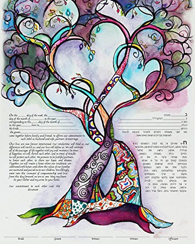 Two Hearts into One Ketubah Marriage Contract – Custom Ketubah, Personalized Ketubah, Handmade Ketubah