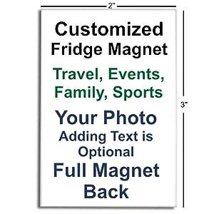 "Custom Refrigerator Fridge Magnet, 2"" x 3"" Personalized Travel Gift, Event, Art, Sports, Photo Magnet Souvenir, Protrait"