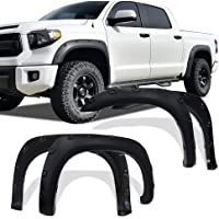 Fender Flares Kit Compatible for 2007-2013 Toyota Tundra, UV Protected Dura-Flex Material Textured Matte Black Finish Front Rear Wheels Pocket Rivet Style