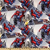 44'' Wide Spiderman City Block Web Navy Blue Fabric By The Yard