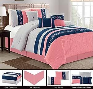 modern 7 piece bedding pink navy blue grey floral embroidered embossed king. Black Bedroom Furniture Sets. Home Design Ideas