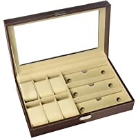 House of Quirk Leather Watch Box, Sunglass Box and Jewelry Display Case Organizer